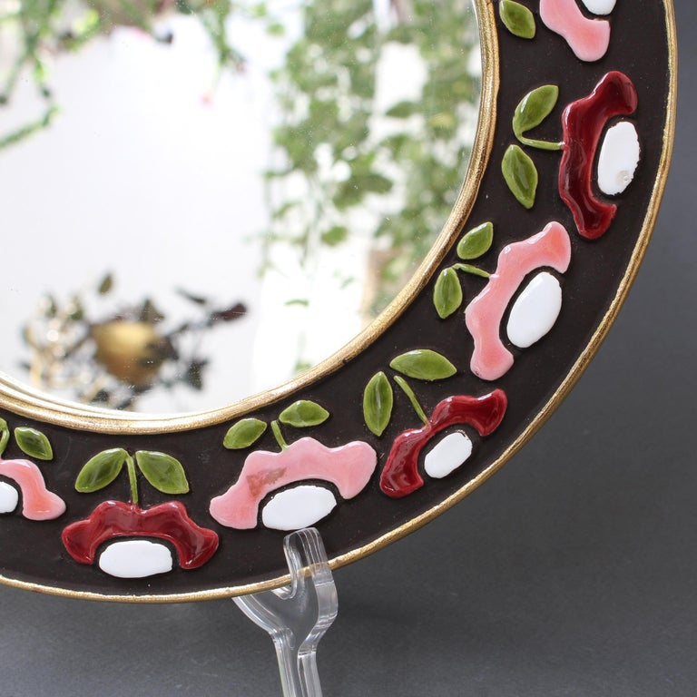 Ceramic Wall Mirror with Flower Motif by Mithé Espelt, circa 1960s For Sale 2