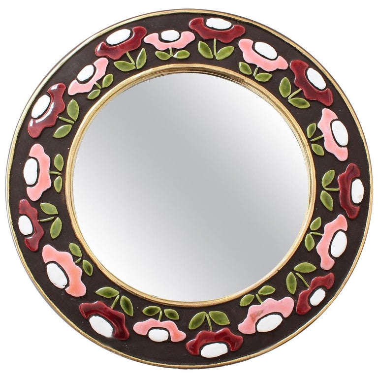 Ceramic Wall Mirror with Flower Motif by Mithé Espelt, circa 1960s For Sale