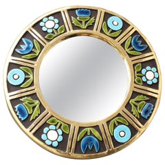 Ceramic Wall Mirror with Flower Motif by Mithé Espelt, 'circa 1960s'