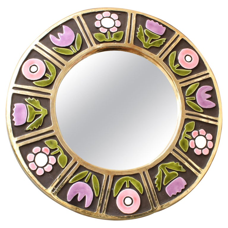 Ceramic Wall Mirror with Flower Motif by François Lembo, circa 1960s For Sale