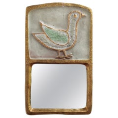 Ceramic Wall Mirror with Gold Crackle Glaze and Stylised Bird by François Lembo
