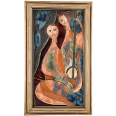 Ceramic Wall Plaque with Two Women with Instruments J. Ruiz, 1960