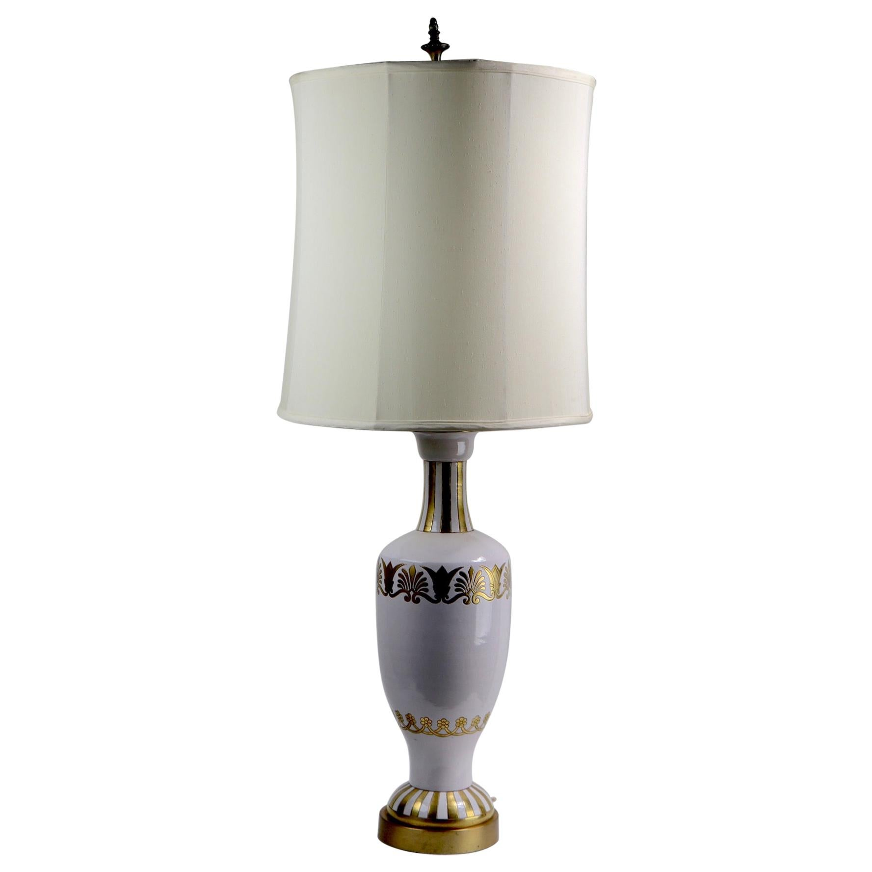 Ceramic White and Gold Gilt Table Lamp by Ugo Zaccagnini