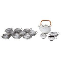 Ceramic White Glazed Tea Set Made in Denmark, 1960s