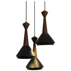 Ceramic Wood Pendant Lamps Set of Contemporary Modern Design, Capperidicasa