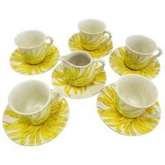 Ceramiche Ernestine, Salerno Italy Chrysanthemum Cups Saucers and Creamer, 1960s
