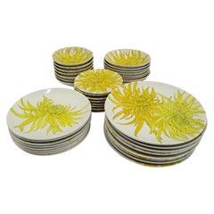 Ceramiche Ernestine, Salerno, Italy Set Chrysanthemum Dinnerware 39 Pcs, 1950s