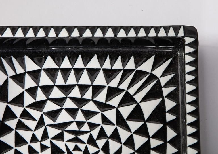 Ceramics by Stig Lindberg, Scandinavian Midcentury, circa 1950, Black and White For Sale 3