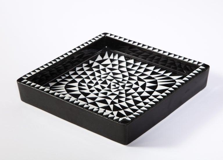 Mid-Century Modern Ceramics by Stig Lindberg, Scandinavian Midcentury, circa 1950, Black and White For Sale