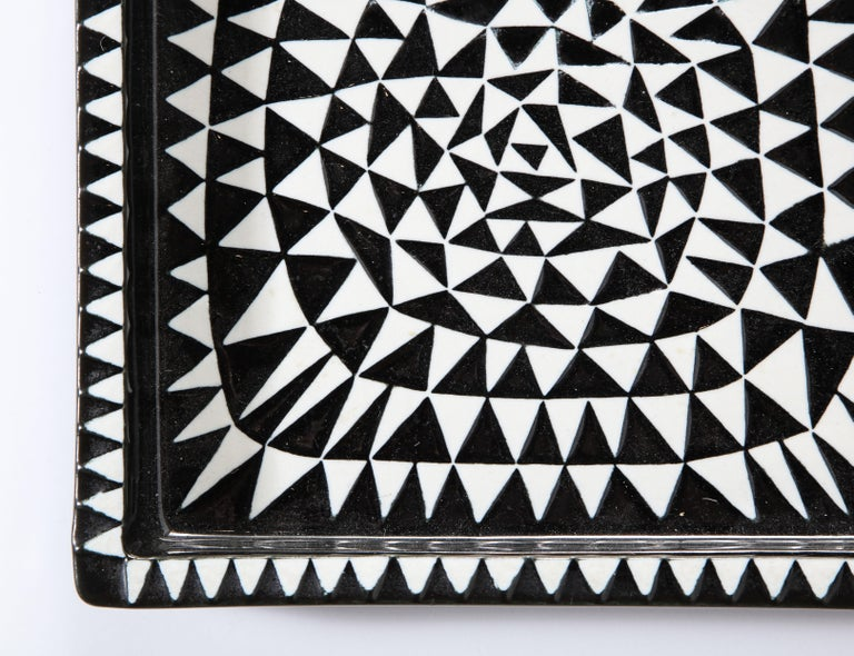 Ceramics by Stig Lindberg, Scandinavian Midcentury, circa 1950, Black and White In Good Condition For Sale In New York, NY