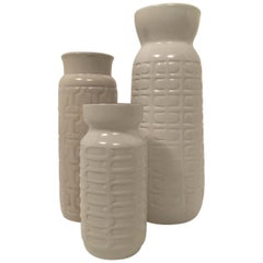 Ceramos Sculptural Vintage Floor Vase Collection Set of Three, Austria, 1970s