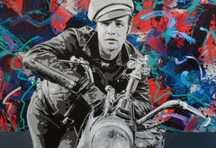 """Brando and G""  Mixed Media 36x52""  Pop Art Portrait with hand embellishment"