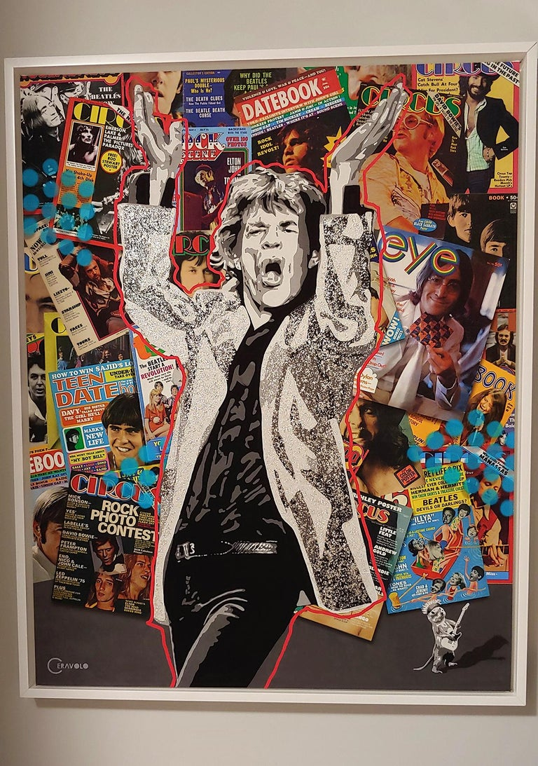 Rockin w/ Jagger, acrylic polymer with mica flakes mixed media on canvas For Sale 4
