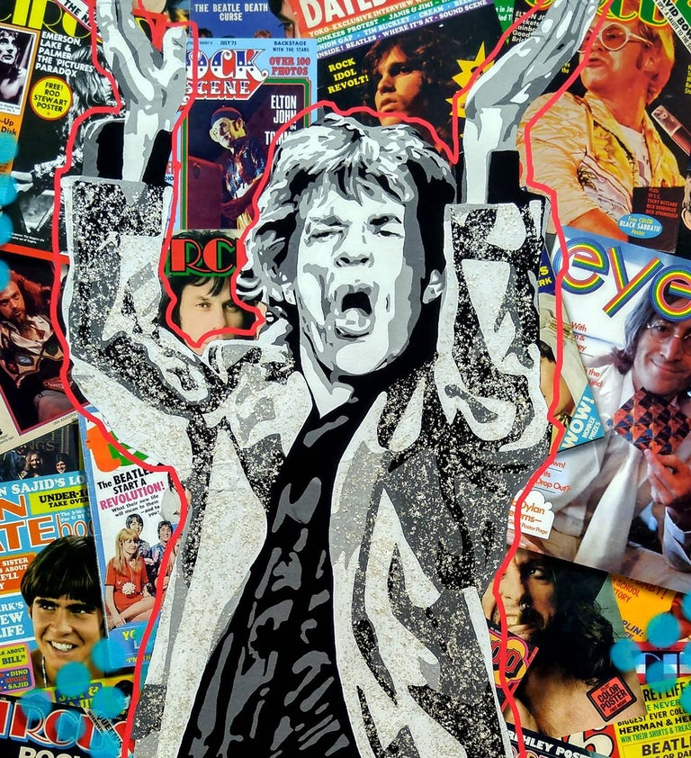 Mixed media digital collage with acrylic polymer and mica flecks by Ceravolo.  In this new work Ceravolo has combined an image of his urban POP painting of Mick Jagger in the forefront with a digital collage of images of vintage 1960's and 70's Pop,
