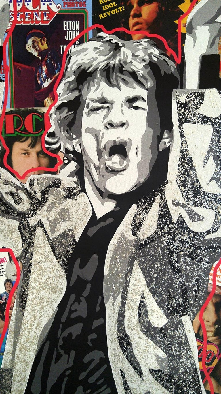 Rockin w/ Jagger, acrylic polymer with mica flakes and digital collage canvas   For Sale 1