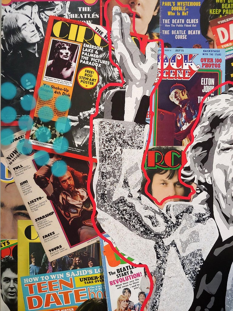Playing w/ Jagger, acrylic polymer with mica flakes on canvas with archival inks For Sale 3