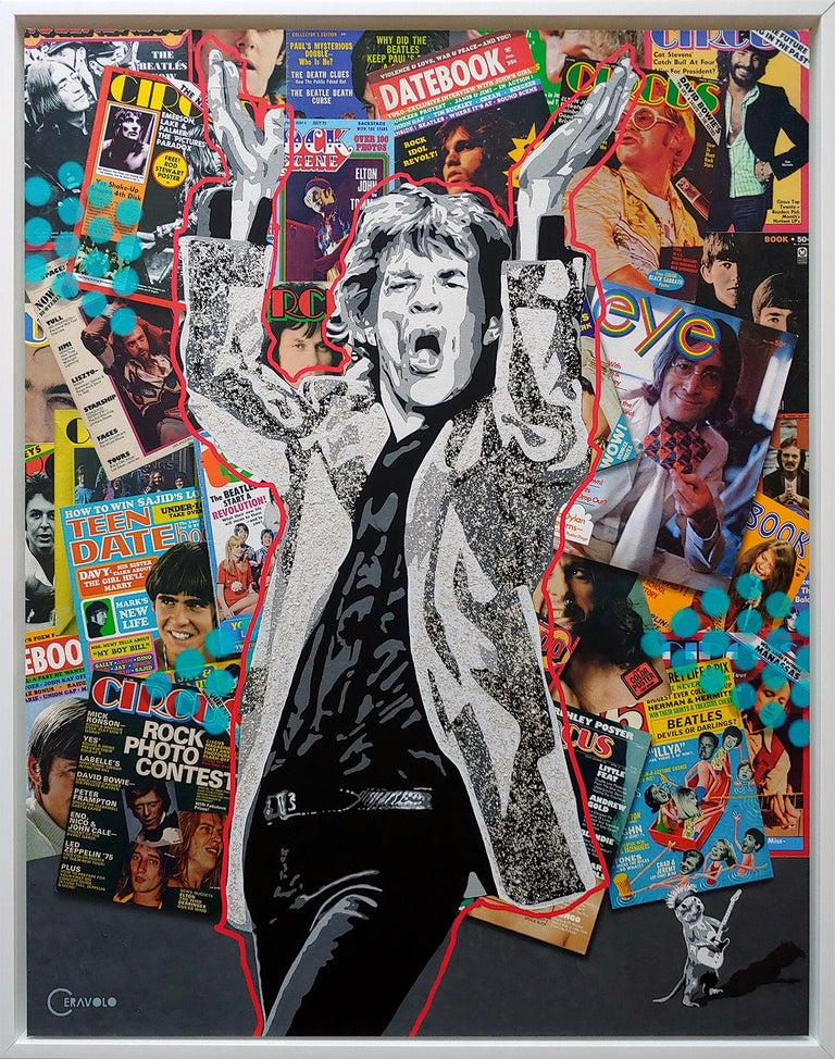 Playing w/ Jagger, acrylic polymer with mica flakes on canvas with archival inks For Sale 5