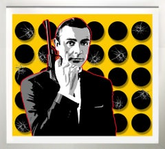 """The Untouchable Mr. Bond"" Red/Yellow 36x39 framed"
