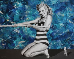 """""""Young Marilyn Monroe at the Beach"""" mixed media and acrylic on Canvas 40x50"""