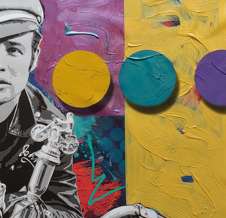 Brando and G, Pop art oil and acrylic portrait with spray enamel dots 36x54  - Painting by Ceravolo