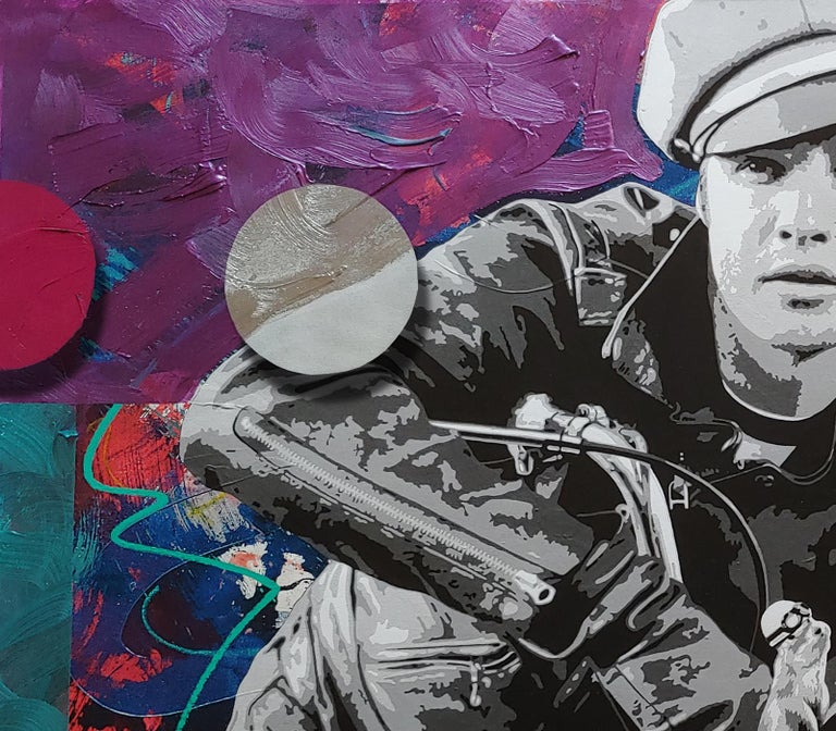 Brando and G, Pop art oil and acrylic portrait with spray enamel dots 36x54  - Gray Abstract Painting by Ceravolo