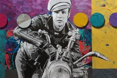 Brando and G, Pop art oil and acrylic portrait with spray enamel circles 36x54