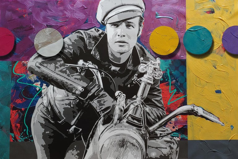 Ceravolo Abstract Painting - Brando and G, Pop art oil and acrylic portrait with spray enamel dots 36x54