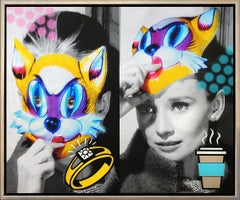 """""""Breakfast with Audrey"""" Diamond Dust & acrylic on Canvas with photo collage"""