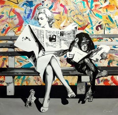 Marilyn and the Monkey AKA The Morning Paper, Acrylic and mixed media on canvas