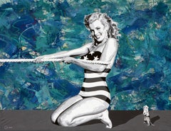 Marilyn tug of war, , 68x88 oil and Acrylic on canvas
