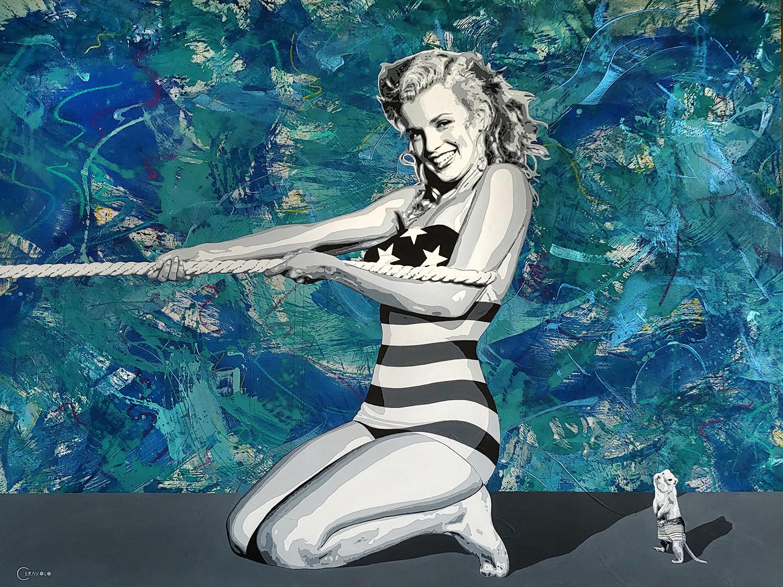 Marilyn tug of war, , 68x88 oil and Acrylic on canvas
