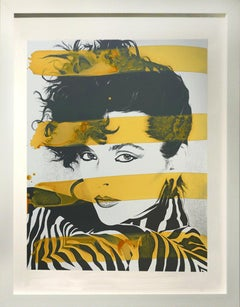 New York Model in Zebra with yellow stripes,  acrylic and silk screen on board
