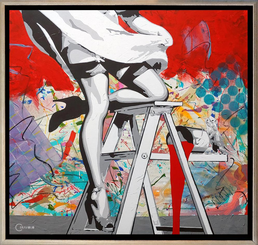 """""""Painting the Town Red"""" Acrylic, oil stick spray paint and mixed media on canvas"""