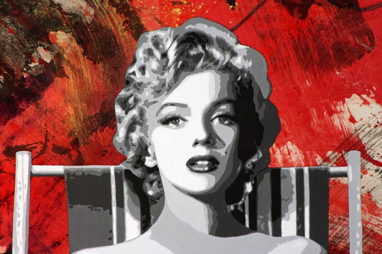 Painting the Town Red with Marilyn,  56x62,  For Sale 5