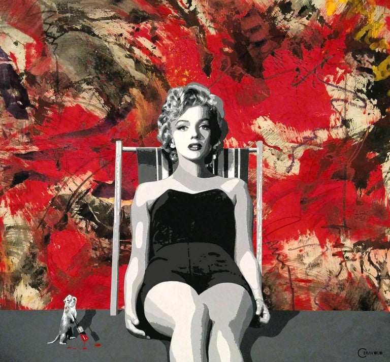 Ceravolo Figurative Painting - Painting the Town Red with Marilyn,  56x62,