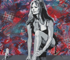 """Sophia Loren and G""  50x58"" oil and acrylic on canvas urban pop art portrait"