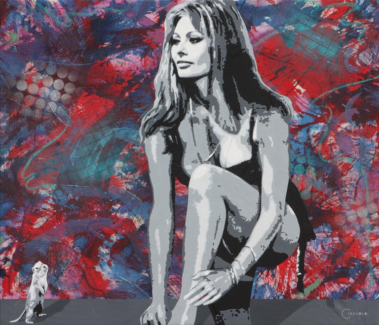 "Ceravolo Portrait Painting - ""Sophia Loren and G""  50x58"" oil and acrylic on canvas urban pop art portrait"