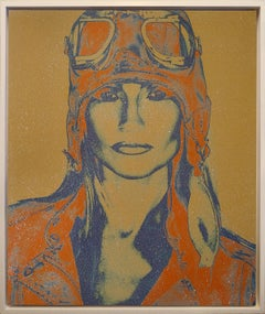 THE AVIATRIX.....Diamond Dust Dark Blue and Orange on canvas