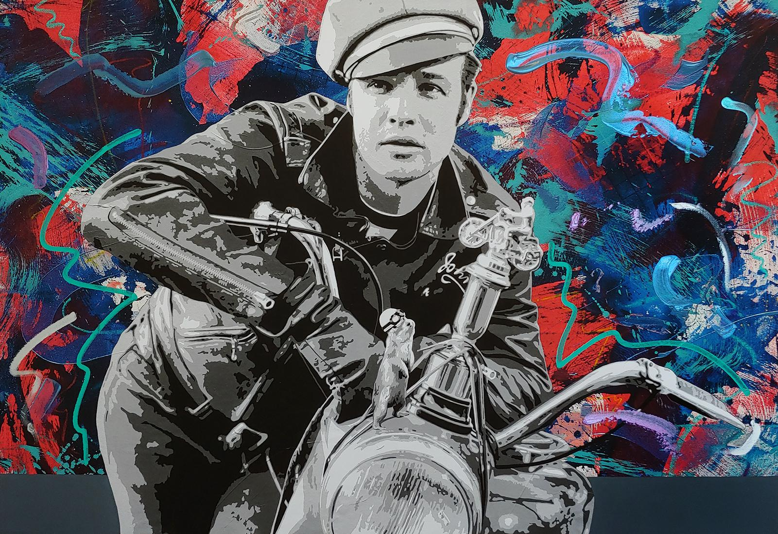 """""""Brando and G"""" 36x52"""" Acrylic, oil stick spray paint and mixed med"""