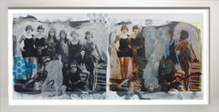 """Vintage Bathing Beauties""  oil, acrylic, spray paint oil stick with photography"