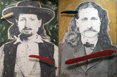 """Wild Bill Hickok"" Old West western Santa Fe style oil on canvas 53x80"""