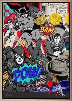 """Wild Day in Gotham"" 42x30"" mixed media canvas, Batman, Superman, Bullet holes"