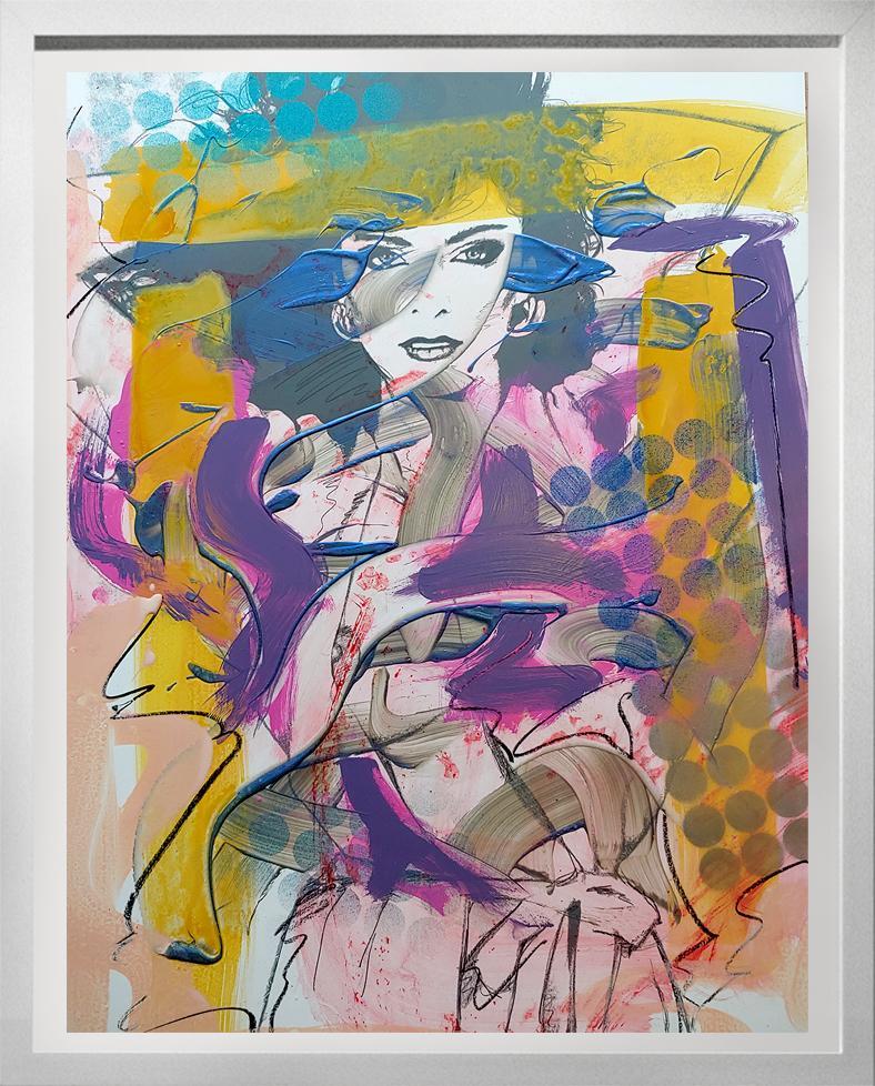 Woman 1 , Acrylic, enamel, oil stick. metallic spray paint on Silkscreened board