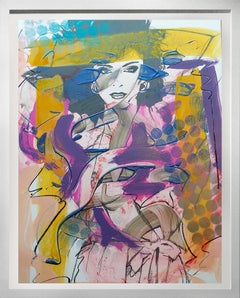 Woman 1 , Acrylic, enamel, oil stick. metallic spray paint on Silkscreened board