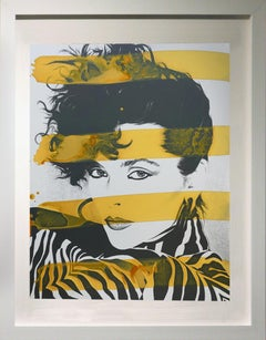 Woman in Zebra with yellow stripes,  acrylic and silk screen on board portrait