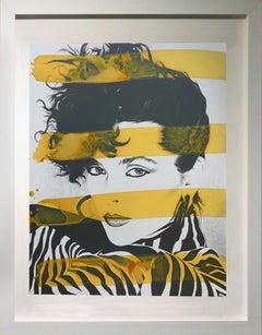 Woman in Zebra with yellow stripes,