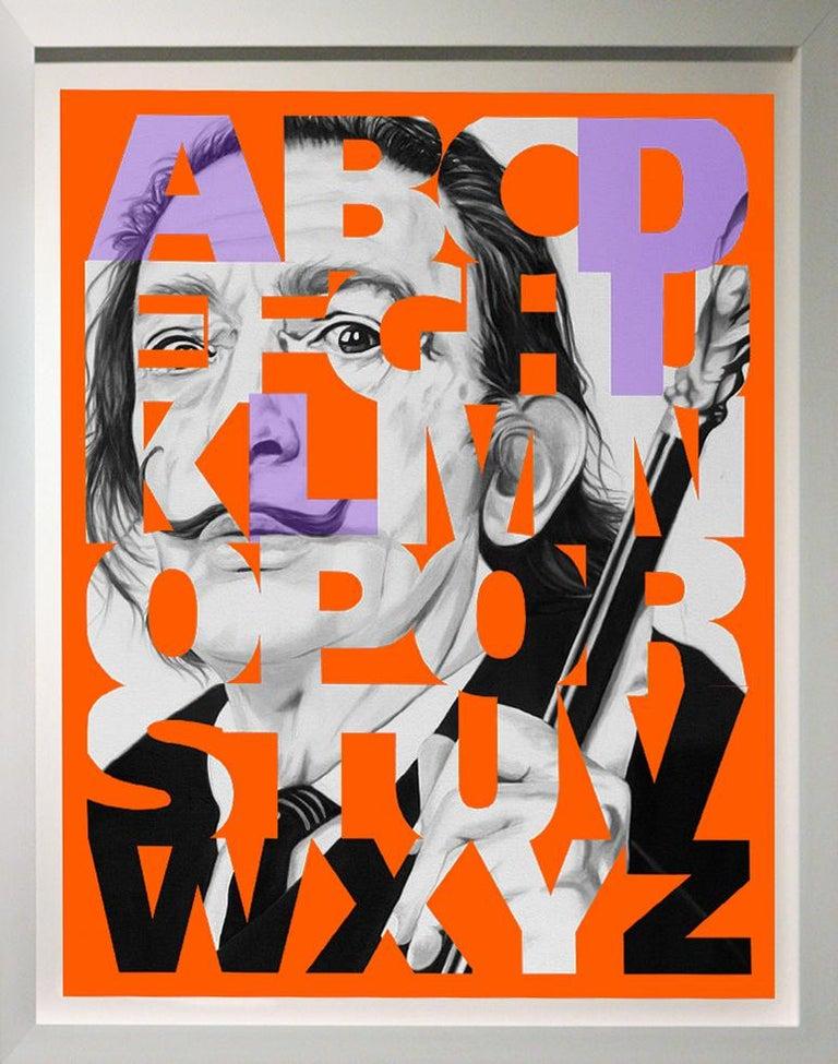 "Ceravolo Portrait Print - ""Alphabet Dali"" Lavender/Orange, 42x36"" , Framed"