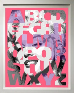 """Alphabet Marilyn"" Lavender/Pink, 42x36"", framed"