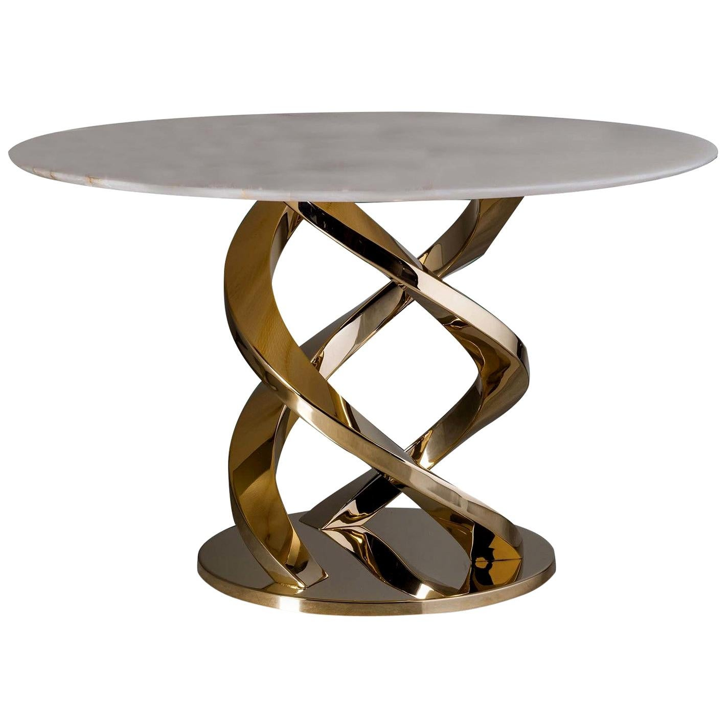 Cerberus Dining Table with Onyx Gold Marble Top