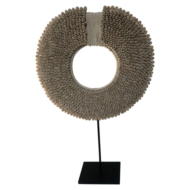 Ceremonial Shell Necklace on Stand For Sale